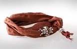 Indisches Seidenarmband braun mit Unikat Glas-Modulperle & Echtsilberschmuck 925.