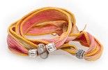 Indisches Seidenarmband lachs/helles gelb-grünmit Unikat Glas-Modulperle & Echtsilberschmuck 925.