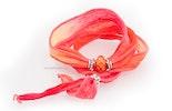 Indisches Seidenarmband rosa/lachs mit Unikat Glas-Modulperle & Echtsilberschmuck 925.