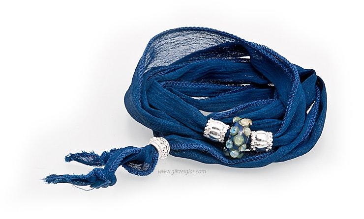Indisches Seidenarmband blau mit Unikat Glas-Modulperle & Echtsilberschmuck 925.