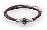 """""""Lilucky"""" geflochtenes Lederamband in violett mit passender violetter Glasperle und kombiniert mit echt SilberSchmuckteilen 925"""
