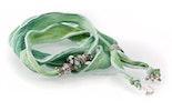 Indisches Seidenarmband pastell-hell-grün/blau mit Unikat Glas-Modulperle & Echtsilberschmuck 925.
