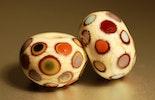 Glasperlen/Beads (Durchm. ca.15mm).