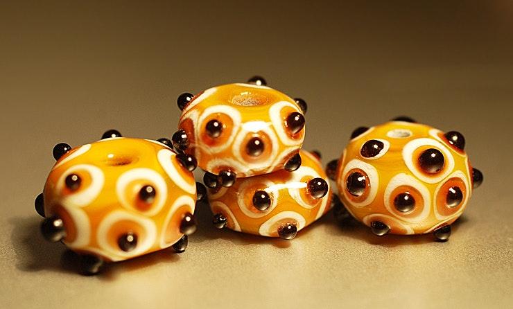 4er Set aus Muranoglas,(Durchm. ca.8-15 mm).