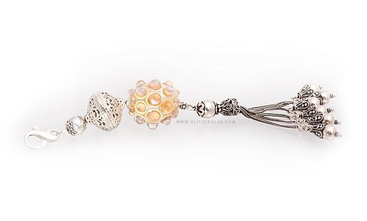 """""""Persia-night-star"""" Schmuckanhänger mit sehr schöner Quaste (alles echt Silber 925), Glasperle in zartem Perlmuttschimmer (Länge ca. 18cm)"""