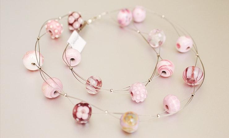 Halsketten mit Murano-Glasperlen in Rosa-Tönen (verkauft an Gabi/Basel)