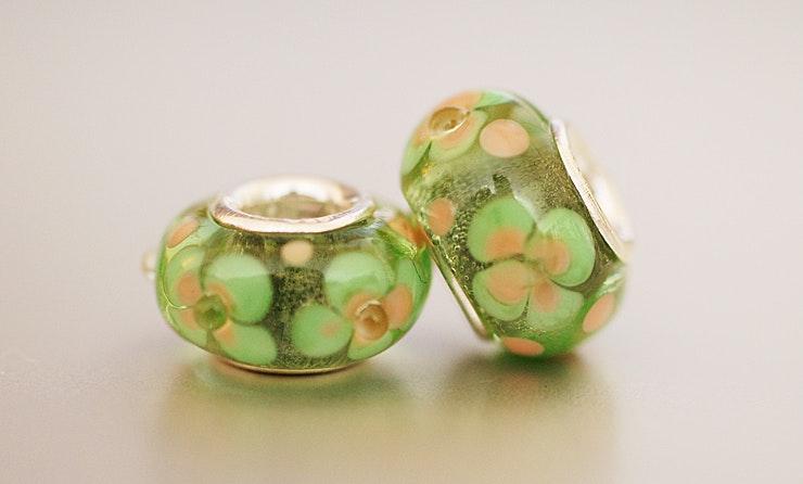 Glasperlen aus Murano-Glas für Pandora-Schmuck, mit 925 Silberhülse/