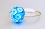 """""""Blue-Eyes"""" Muranoglas Transparent-Blau Taschen-/Schlüsselanhänger"""