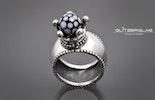 Kronenring aus echtem Silber mit handgefertigter Perle