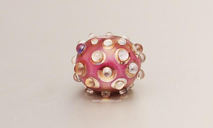 Bullseye Glass-Perle in Pink (verkauft an Michelle)