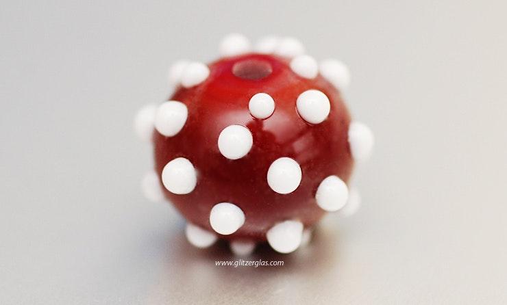 dunkelrot/weisse Perle