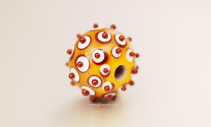 Orange/weiss/rot Glasperle aus Muranoglas CHF 18.-