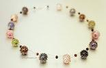 """Beadmix"" Halskette mit 15 handgefertigten Bullseye-Glasperlen, Silberverschluss 925, (ca. 55 cm)"