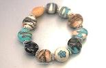 """""""Greece-Island"""" Rhodos Armband mit linsenförmigen Muranoglasperlen in tükis mit hochwertigem Gummiband"""