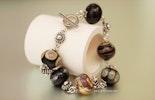 """Black-Beauty"" Glasperlen Armband mit hochwertigem Silber 925 CHF 79.-"