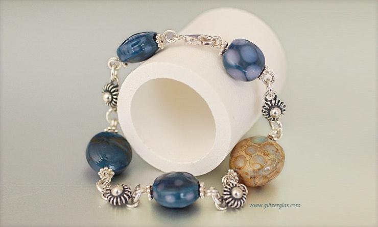 """""""Deep Blue"""" Glasperlen Armband mit hochwertigem Silber 925 (verkauft an Dina/Geroldswil)"""