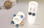 Deep Blue Bullseyeglass-Set Armband & Ohrringe mit Silber 925 komplett (verkauft)