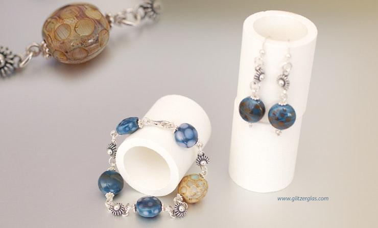 Deep Blue Bullseyeglass-Set Armband & Ohrringe mit Silber 925 komplett CHF 104.-