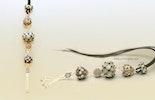 """""""Barcelona""""Halskettenanhängermit 4 Glasperlen in schwarz/grau & Silber925 Quaste an Lederband (verkauft an Sandra aus Riehen/BS)"""