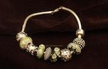 """""""Olive-Beauties"""" Pandora Style-Perlen im Set oder einzeln, mit oder ohne Silber 925 Hülse,"""