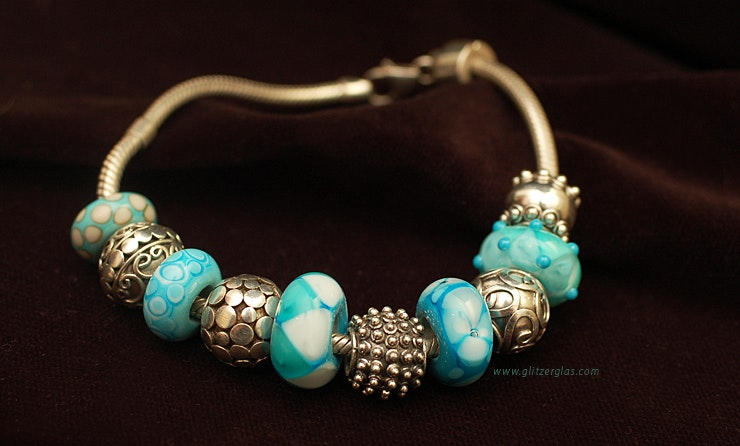 """""""Turquoise Pandora Style 'beads in a set or individually with or without sleeve Silber925 price per amount of work after 15 CHF - to 18.-/Stk."""