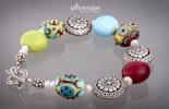 """""""Colourful"""" Armband matte Glasperlenlinsen mit Silber 925 und Lava"""