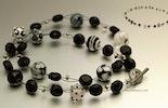 """""""Zebra-Zebra"""" Halskette mit Lava und Silberperlchen mit schönem Silber925 Verschluss (verkauft in Bremgarten am Ostermarkt)"""