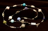 """""""Blumenherz"""" Lange Halskette mit Muranoglasperlenund Silber925 an Nylondraht (Muttertaggeschenk)"""