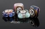 """""""nicht immer rund"""" Trollbead-style Glasbeads mit Silberglas"""