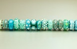 Pandora style glass beads in turquoise. Various glass (Murano, CIM, Bullseye, Lauscha and Reichenbach glass CHF 18.-/pc.