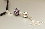 """""""Violetta""""Anhänger mit Muranoglasperle & Silber925 mit geflochtenem Ziegenlederband 90cm lang und echt Silberendstücken (verkauft)"""