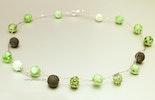 """""""Green-Candy"""" Halsschmuck mit 14 pastellgrünen Murano-Glasperlen und 925 Silberverschluss (ca. 55 cm)"""