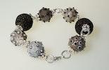 """""""Barcelona"""" Armband aus Murano-Glasperlen mit Silberdraht und Lavasteinperlen (verkauft am Altstadtmarkt in Bremgarten)"""
