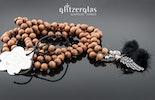 """""""woodheart"""" red sandalwood perlen auf schwarzer seide handgeknüpft mit federring Silber 925 (ohne Anhänger)"""