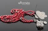 """""""red-dragon"""" Koralle (rot gefärbt mit bronzitsteinperlen auf brauner seide handgeknüpft silber 925 mit bauchigem Ornamentherz und blüemli-Anhänger"""