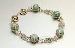"""""""Ibiza 4""""Armband aus Mini-Muranoglasperlen türkis/Elfenbeinfarbig und Silberschmuck Silber 925 (gehört jetzt Jeannette/Rüti-ZH)"""