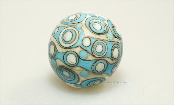 """""""Mosaik"""" Muranoglasperle in türkis/elfenbein (verkauft)"""