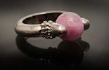 """Candy"" Fingerring mit Muranoglasperle in rosa"