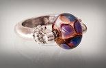 """Aura"" Fingerring mit Perle aus Murano-&Double-Helix Glas"