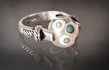 Fingerring echt Silber mit einer Klarglasperle mit türkis/weiss getüpfelt