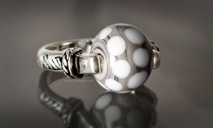 """Grey""EchtSilber925 Fingerring mit Muranoglasperle Gr.18 (verkauft)"