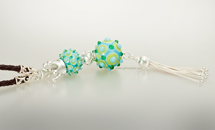 Necklace Pendant with 2 Murano Glass Beads & Silber925 with tassel on leather strap (order, Zurich)