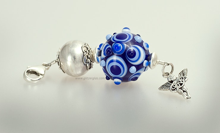 """""""Nuage"""" Kettenanhänger mit blauer Muranoglasperle kombiniert mit Silber925 an Karabiner (Bestellung von Denise/Weiningen/ZH)"""
