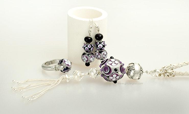 """""""Purple Love"""" Earrings & Pendants & finger ring (Brithday set)"""