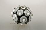 """""""Grauzeit"""" Muranoglasperle mit Silber925 Hülse (4mm)"""
