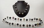 """""""Sienna"""" Halskette mit Murano-Glasperlen und Lavaperlen an Knebelverschluss (Silber925)"""
