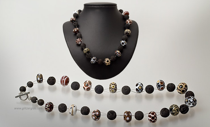 """Sienna"" Necklace with Murano glass beads and Lava beads to toggle (Silber925) CHF 140 -"