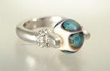 """Mystic-Eye"" Fingerring mit Glasperle"
