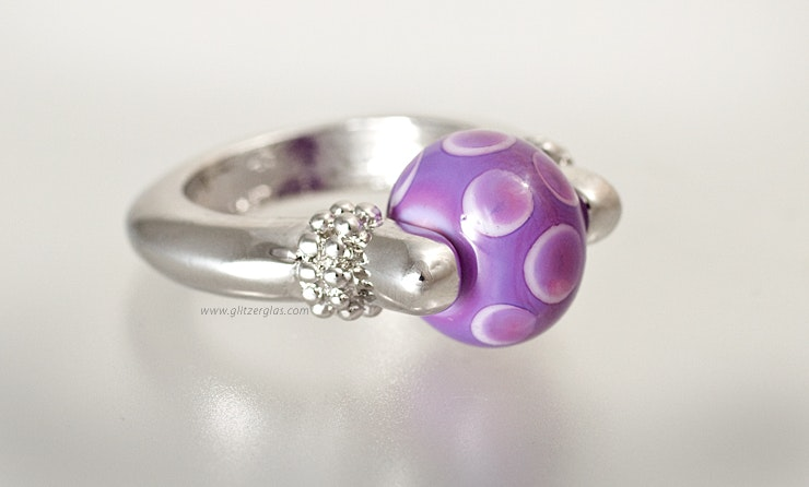 """Libelle"" Fingerring mit Glasperle"