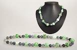 """""""Achat&Grün"""" Halskette mit Glasperlen hellgrün/weiss mit Achatstein kombiniert (verkauft nach Zürich)"""